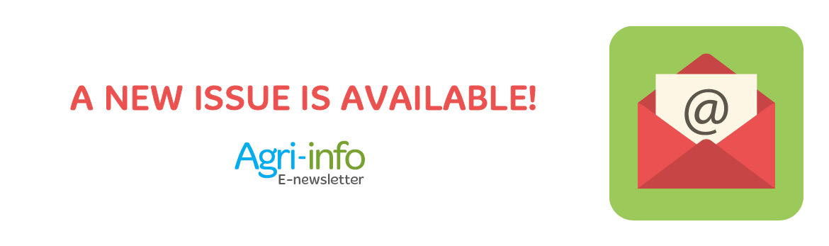 A graphic image of a red envelope with the text 'A new issue is available: Agri-info e-newsletter'