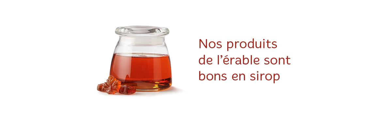 Image d'un bocal rempli de sirop d'érable avec le texte « Nos produits de l'érable sont bons en sirop  »