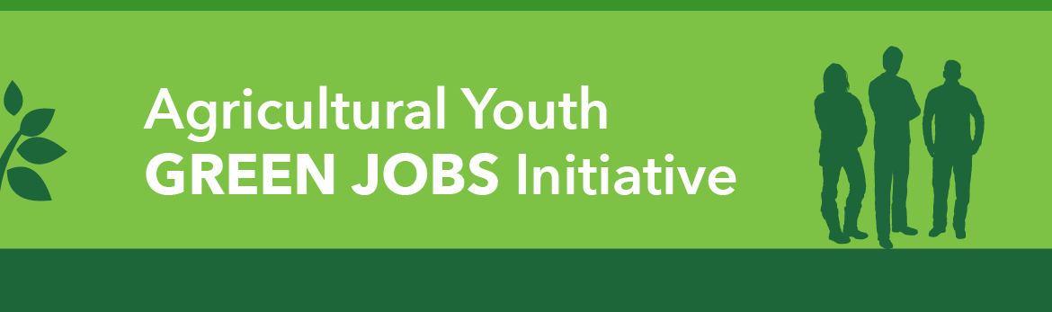 A multi-shaded green background with silhouettes of young adults and the text 'Agricultural Youth Green Jobs Initiative'