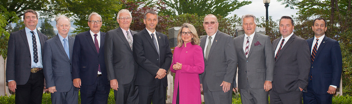 Minister MacAulay is seen standing with his provincial and territorial counterparts