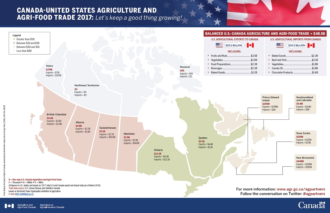 Map Of Canada And The States.The United States Trade With Canada And Canada S Trade With The