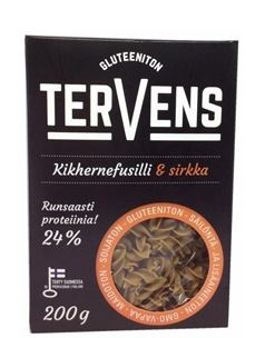 Chickpea fusilli and crickets with 24 % protein content (launched in Finland by Tervens in December 2017)
