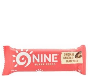 Nine Super Seeds bar with carob and hemp seed