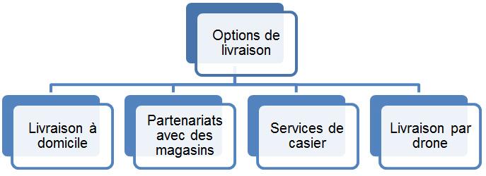 Options de livraison des commandes électroniques. La description pour cette image suit.