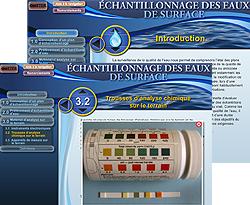Capture d'écran de la page d'introduction du module Échantillonnage des eaux de surface et image montrant une trousse d'analyse chimique sur le terrain.