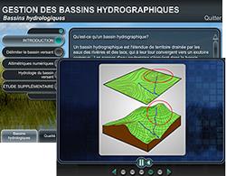 Capture d'écran du module Gestion des bassins hydrographiques et image d'une animation montrant des cartes topographiques en 3 dimensions.