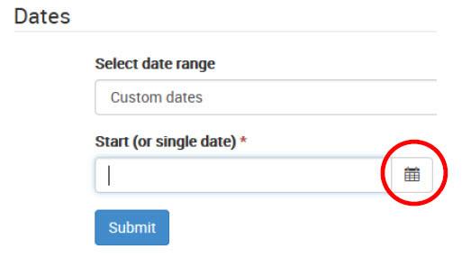 Screen capture of calendar dropdown with the start date calendar selected