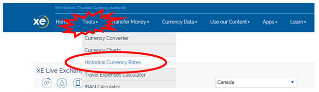 Screen capture of xe.com toolbar with tools, historical currency rates selected