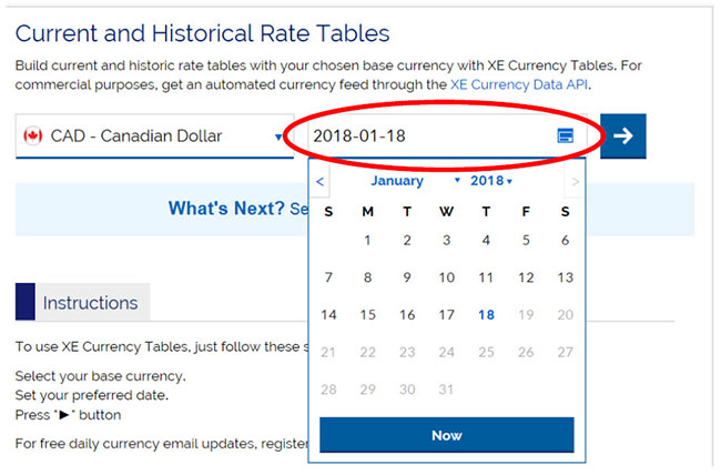 Screen capture of current and historical rate tables, Canadian Dollar, historical date calendar selected