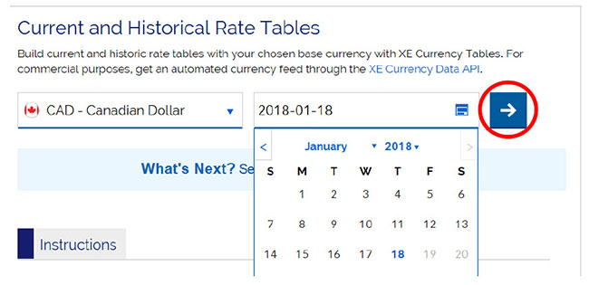 Screen capture of current and historical rate tables, right arrow icon selected