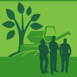 Illustrated silhouettes of three youths, a combine, and a tree, in three different shades of green, superimposed.