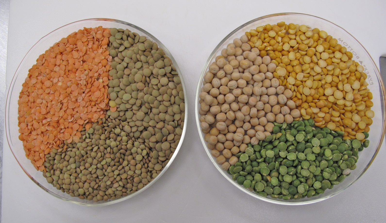 Two containers of pulses on a white background. The left container holds split red and green lentils, and the right contains yellow and green varieties of dried peas.