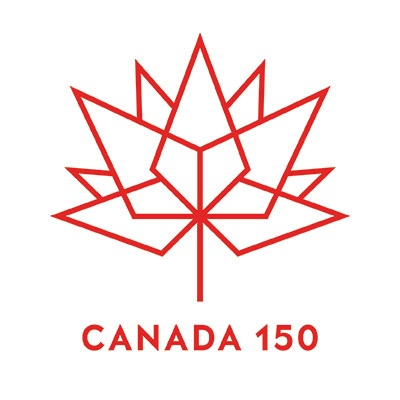 The red Canada 150 logo, which is composed of a series of diamond.