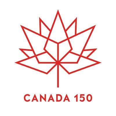 Le logo rouge de Canada 150 se compose d'une série de diamants