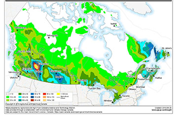 A map with coloured areas to show precipitation.