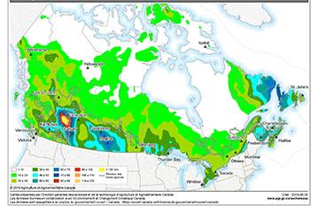 Une carte avec des zones colorées pour montrer les précipitations.