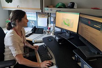 Une personne assise à son bureau travaillant sur ordinateur avec la carte.
