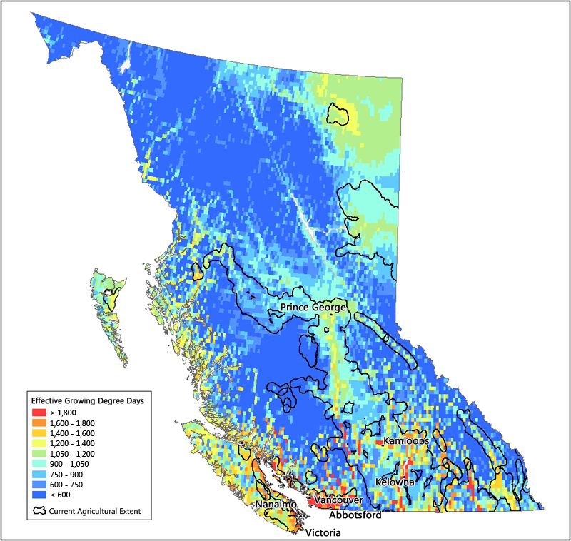 Prince George Canada Map.Effective Growing Degree Days In British Columbia Agriculture And