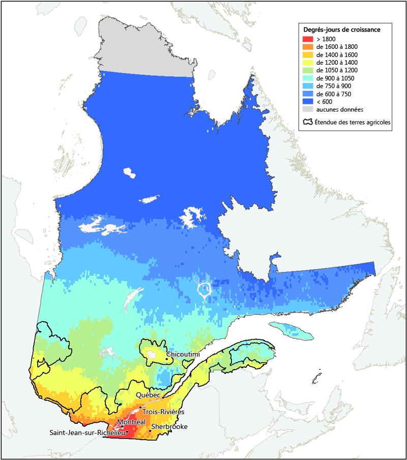 Carte Canada Chicoutimi.Degres Jours De Croissance Reelle Au Quebec Agriculture Et