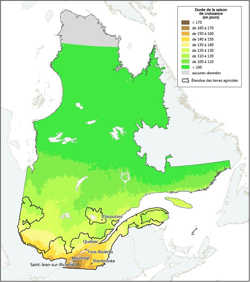 Carte Canada Chicoutimi.Duree De La Saison De Croissance Au Quebec Agriculture Et