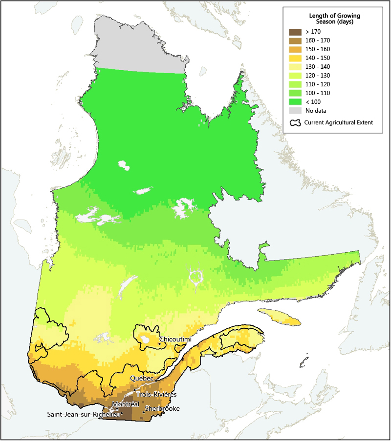 Length Of Growing Season In Quebec Agriculture And AgriFood - Map of quebec