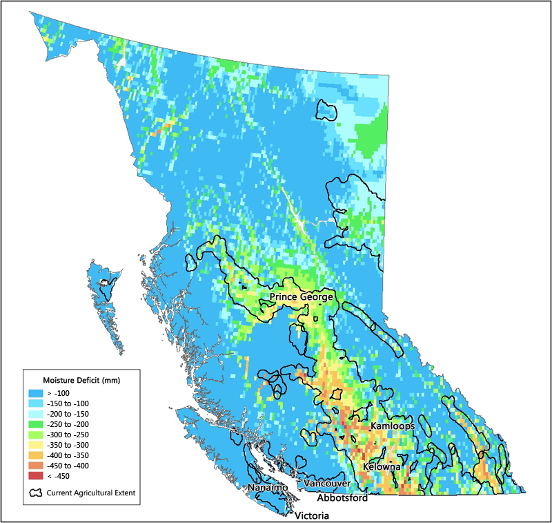 Moisture deficits in British Columbia Agriculture and AgriFood
