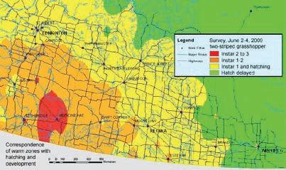 Exemple d'une carte des risques montrant des scénarios périodiques d'avertissement régionaux - le 2 juin 2009