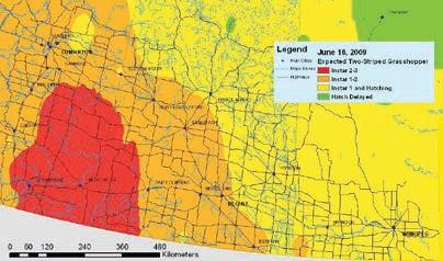 Exemple d'une carte des risques montrant des scénarios périodiques d'avertissement régionaux - le 16 juin 2009
