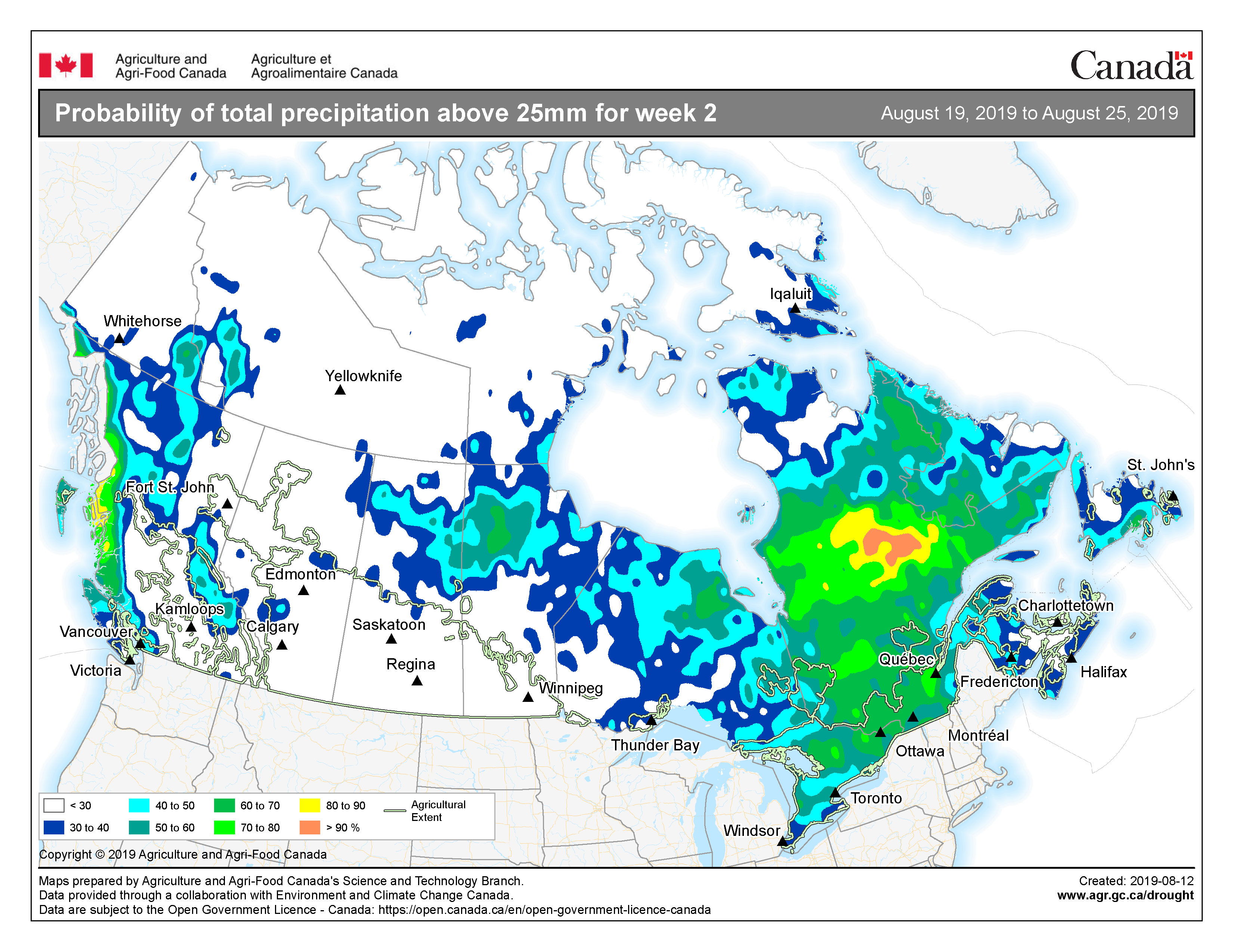 Map Of Canada 60th Parallel.Agroclimate National Risk Report July 30 To August 13 2019