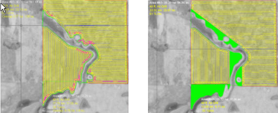 Aerial representations (before and after) of an annual cropland that has been squared-off with a perennial forage buffer
