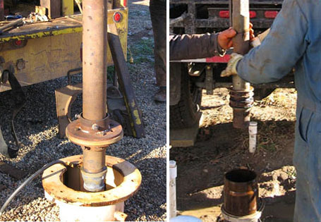La photo montre deux différents types d'équipements de nettoyage au jet à haute pression lors de leur introduction dans les puits