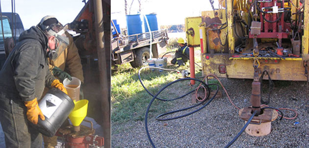 photos of a man in protective clothing, pouring chemicals into a well and mechanical injection of chemicals