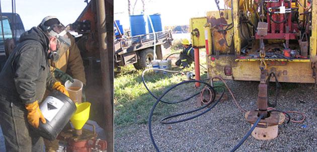 Photo d'un  homme en vêtement de  protection, versant des produits chimiques dans un puits et l'autre photo montre l'injection mécanique  de produits chimiques dans un puits
