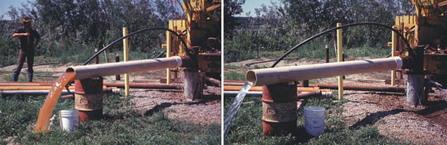 Photos show the pumping of a well after a treatment process until turbid water runs clear.